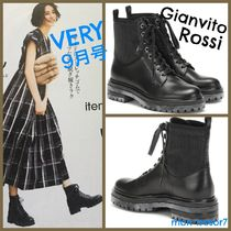 Gianvito Rossi Lace-up Casual Style Plain Leather Lace-up Boots