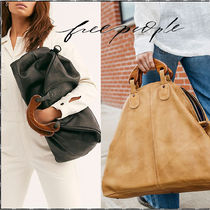 Free People Casual Style A4 Plain Leather Handbags