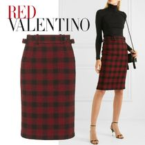 RED VALENTINO Pencil Skirts Other Check Patterns Zigzag Cotton Medium