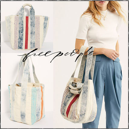 Stripes Casual Style Canvas 2WAY Totes