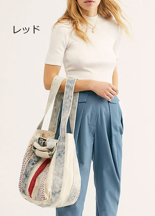 Canvas Stripes Casual Style 2WAY Totes