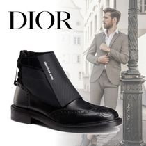 DIOR HOMME Wing Tip Blended Fabrics Street Style Plain Leather Boots
