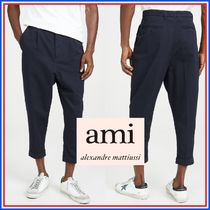 AMI ALEXANDRE MATTIUSSI Plain Cotton Oversized Cropped Pants