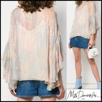 Mes Demoiselles Casual Style Blended Fabrics Cropped Medium Shirts & Blouses