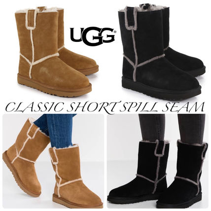UGG Australia CLASSIC SHORT Rubber Sole Casual Style Sheepskin Plain Flat Boots
