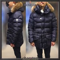MONCLER CLUNY Fur Blended Fabrics Street Style Plain Long Down Jackets