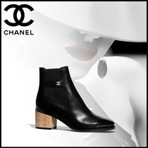 CHANEL Casual Style Leather Block Heels Ankle & Booties Boots