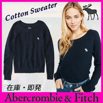 Abercrombie & Fitch Crew Neck Long Sleeves Plain Cotton Sweaters