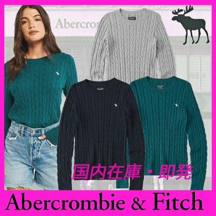 Crew Neck Cable Knit Long Sleeves Cotton Medium Knitwear