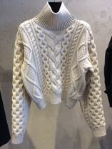 CELINE Cable Knit Short Cashmere Street Style Long Sleeves Plain