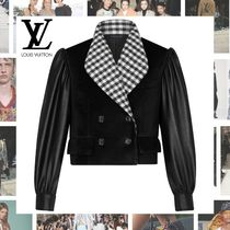 Louis Vuitton Short Other Check Patterns Blended Fabrics Plain Leather