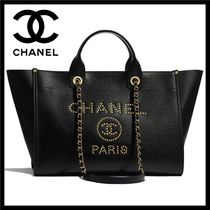 CHANEL DEAUVILLE Unisex Calfskin Studded A4 2WAY Chain Totes