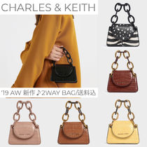 Charles&Keith Leopard Patterns Casual Style Faux Fur Vanity Bags 2WAY