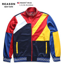 REASON Stripes Unisex Street Style Bi-color Oversized Track Jackets