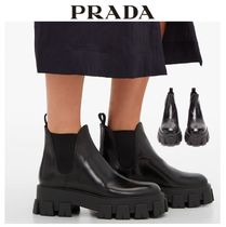PRADA Platform Casual Style Plain Leather Loafer Pumps & Mules