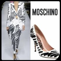 Moschino Bi-color Leather Pin Heels Pointed Toe Pumps & Mules