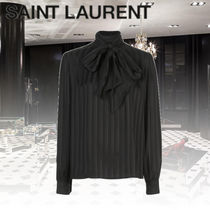 Saint Laurent Stripes Silk Long Sleeves Medium Elegant Style