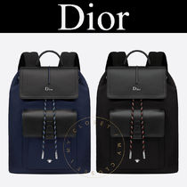 Christian Dior Nylon Blended Fabrics Street Style 2WAY Plain Backpacks