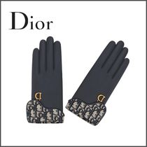 Christian Dior Monogram Blended Fabrics Plain Leather