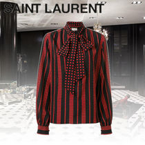 Saint Laurent Star Silk Long Sleeves Medium Elegant Style Shirts & Blouses