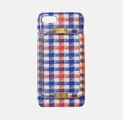 Gingham Other Check Patterns Unisex Street Style Leather