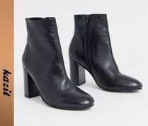 ASOS Casual Style Leather Block Heels High Heel Boots