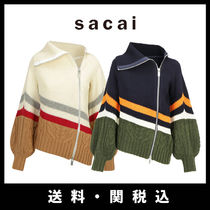 sacai Short Stripes Casual Style Wool Rib Long Sleeves Plain