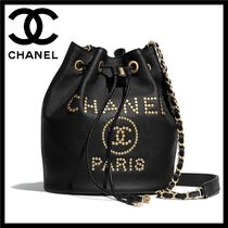 CHANEL DEAUVILLE Calfskin Studded Chain Purses Shoulder Bags