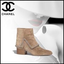CHANEL Casual Style Suede Block Heels Ankle & Booties Boots