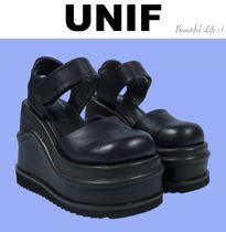 UNIF Clothing Platform Round Toe Casual Style Plain Leather Shoes