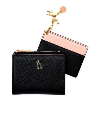 Street Style Bi-color Plain Long Wallets