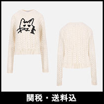 MSGM Crew Neck Cable Knit Wool Long Sleeves Knitwear