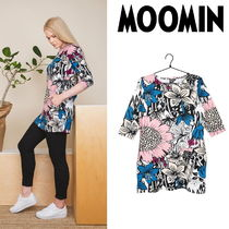 Moomin Crew Neck Flower Patterns Cropped Cotton Medium Tunics
