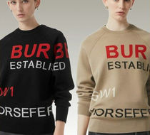 Burberry Crew Neck Long Sleeves Medium Elegant Style Sweaters