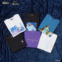 SPAO Unisex U-Neck Collaboration T-Shirts