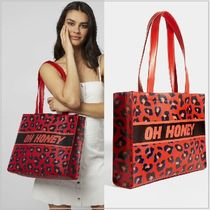 SKINNYDIP Leopard Patterns Casual Style A4 Totes