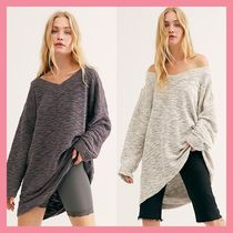 Free People V-Neck Long Sleeves Cotton Long Oversized Tunics