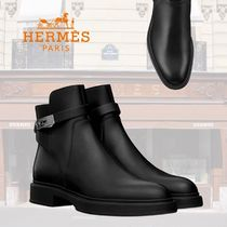 HERMES Plain Toe Plain Leather Chukkas Boots