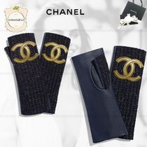 CHANEL Tweed Blended Fabrics Gloves Gloves