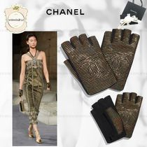 CHANEL Blended Fabrics Leather Leather & Faux Leather Gloves