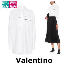 VALENTINO VLTN Long Sleeves Plain Cotton Medium Oversized Elegant Style