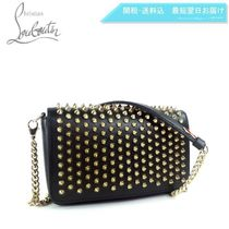 Christian Louboutin Paloma Studded 2WAY Chain Plain Leather Elegant Style Crossbody