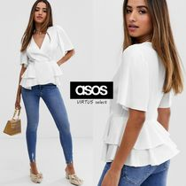 ASOS Peplum V-Neck Plain Short Sleeves Tunics