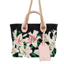Dolce & Gabbana Flower Patterns Street Style Leather Totes