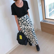 Leopard Patterns Maxi Long Elegant Style Bold Maxi Skirts
