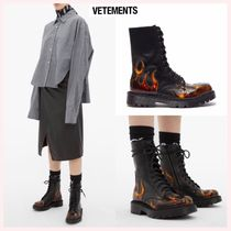 VETEMENTS Round Toe Casual Style Plain Leather Ankle & Booties Boots