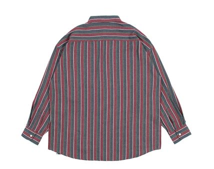 ROMANTIC CROWN Shirts Stripes Unisex Street Style Long Sleeves Cotton Oversized 3