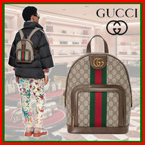 GUCCI Ophidia Monogram Canvas Backpacks