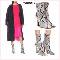 VETEMENTS Casual Style Leather Pin Heels Python Ankle & Booties Boots