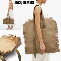 JACQUEMUS Unisex A4 2WAY Plain Leather Fringes Straw Bags